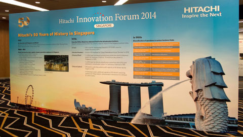 The history of Hitachi in Singapore was demonstrated through a timeline panel, inclusive of key milestones.