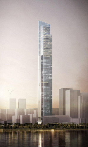 Artist's rendition of the completed Guangzhou CTF Finance Center